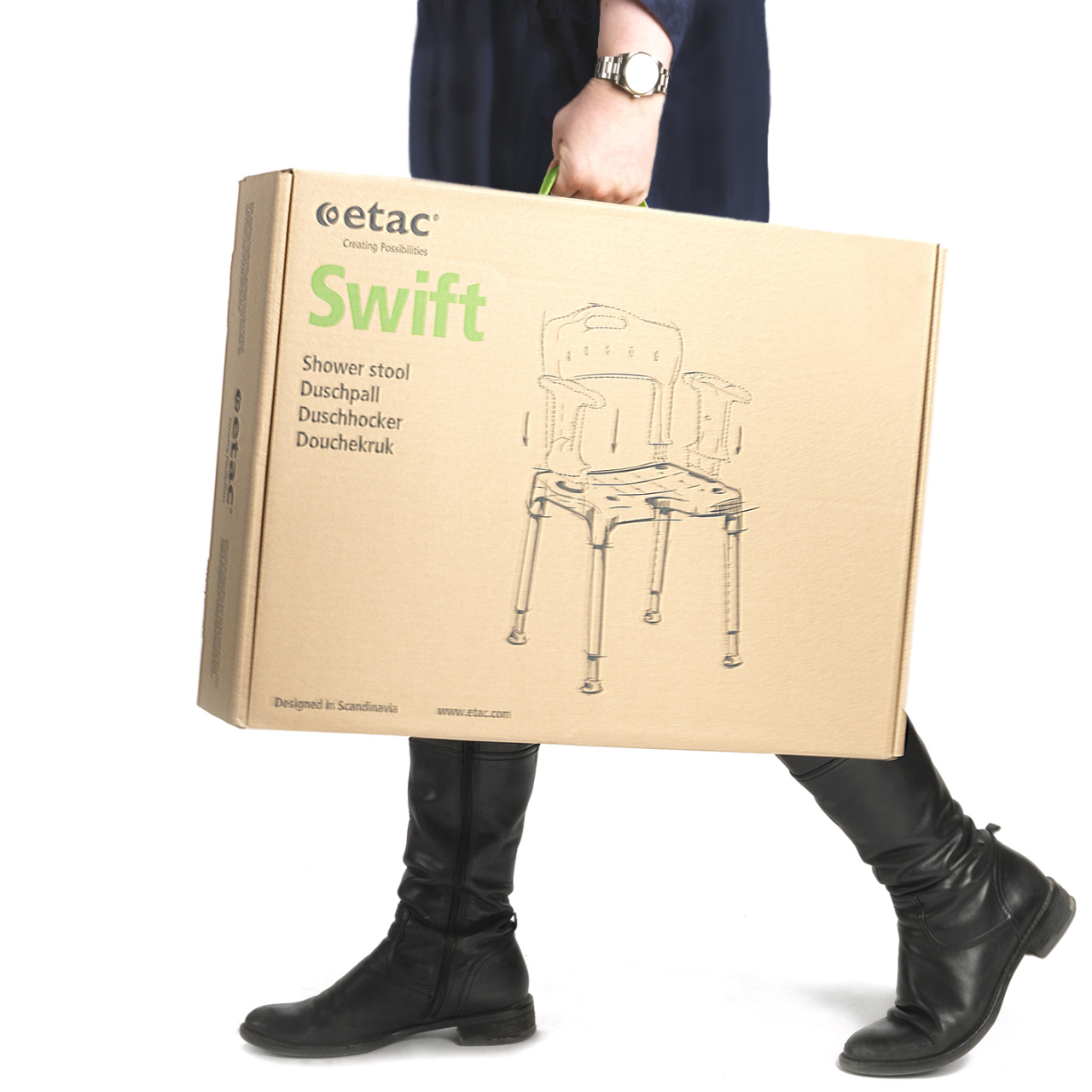 Etac-swift-shower-stool-chair-box