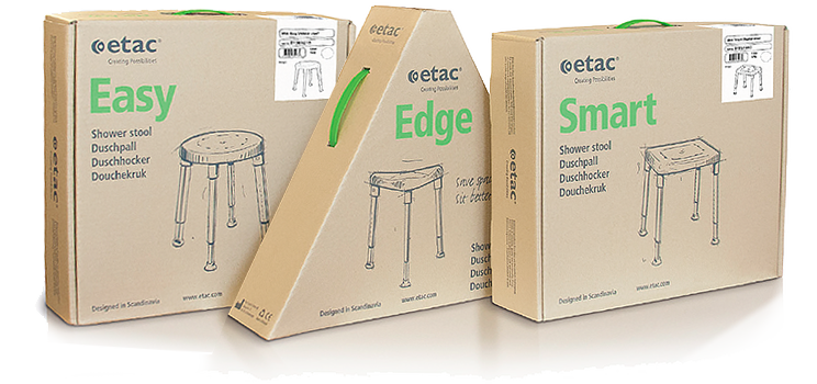 Etac shower stools packaging